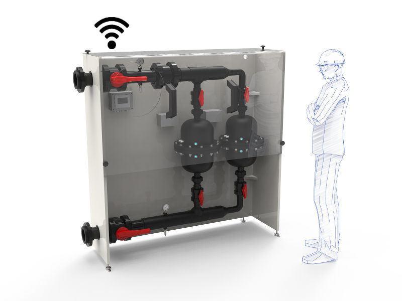 Assemblage de plusieurs réacteurs UV Enthal.Izer dans un  skid de désinfection d'eau grand débit, automatique et communicant.