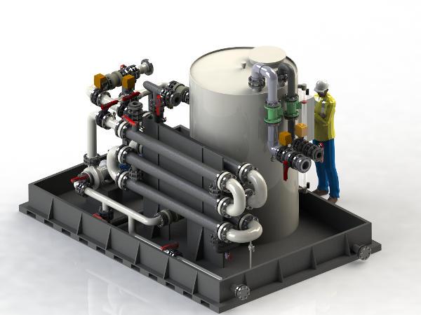 Skid de dilution automatique et de refroidissement d'acide et base forte