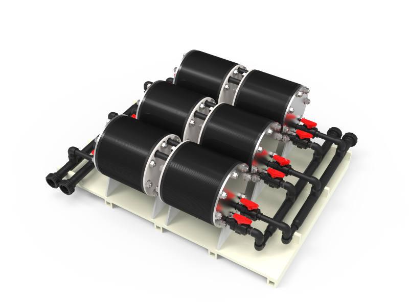 Assemblage en série/parallèle de plusieurs échangeurs thermiques à plaques, dans un skid pour constituer une unité de traitement thermique plus puissante. Skid complet avec automatisme et supervision.
